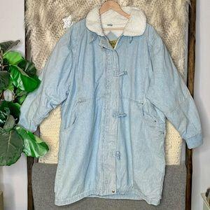 Vintage Learsi Acid Washed Denim Shearling Lined Snow Jacket